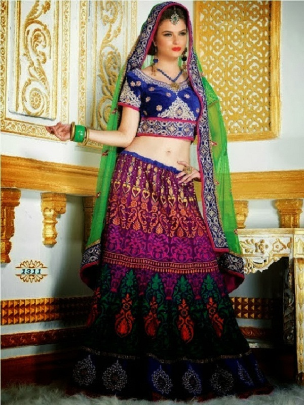 navy blue lehenga for durga puja