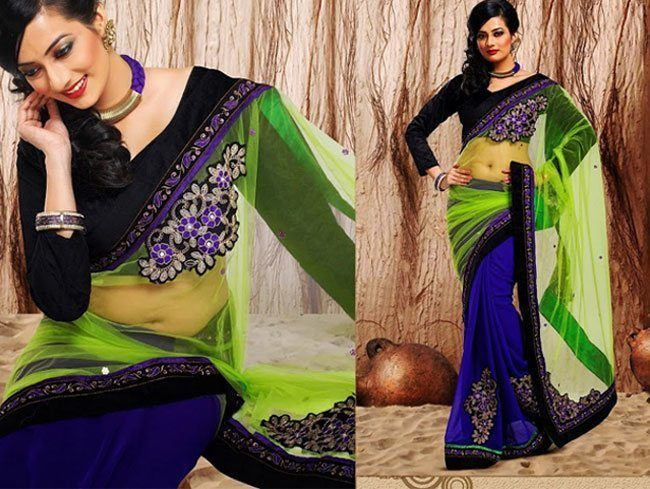 neon net pallu and royal blue