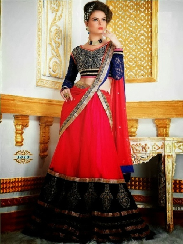 neon pink lehengawith embroidered blouse