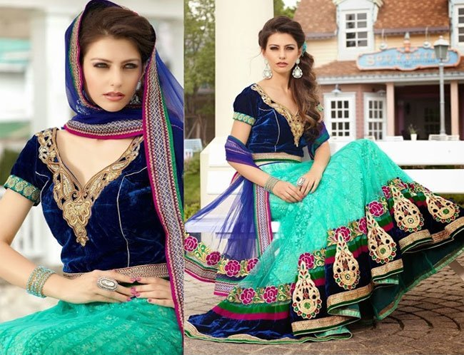 neon sea green lehenga with a royal blue