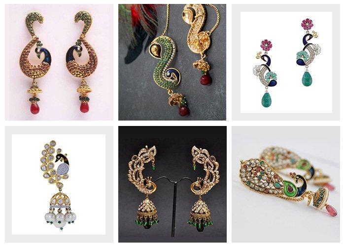 peacock earrings ear cuffs india