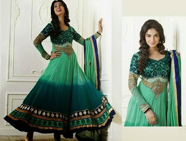 peacock green floor length anarkali