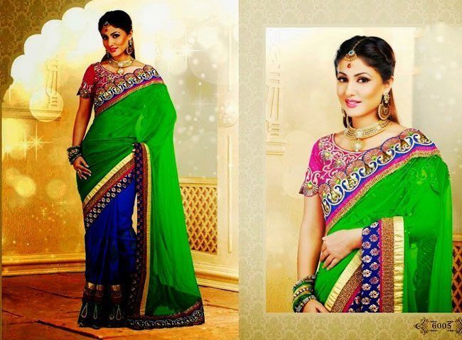 peacock green saree in combination with royal blue