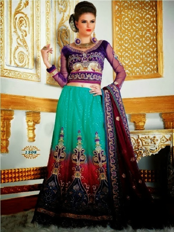 purple sea green lehenga for festive-season