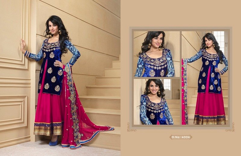 royal blue velvet floor length anarkali