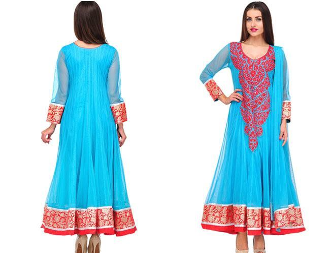 sleeve blue embroidered anarkali suit