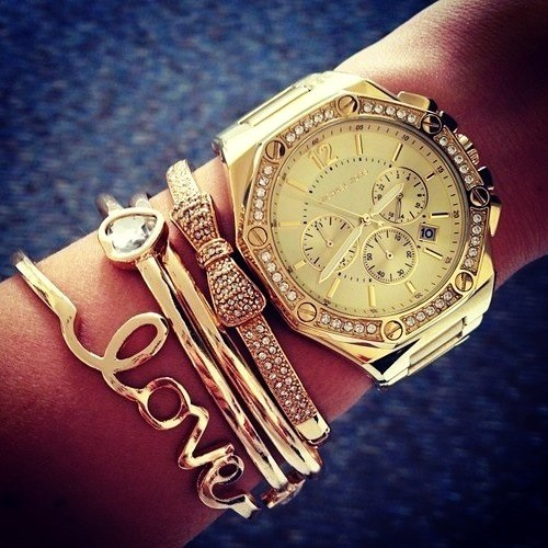 stylish watch women golden bracelets