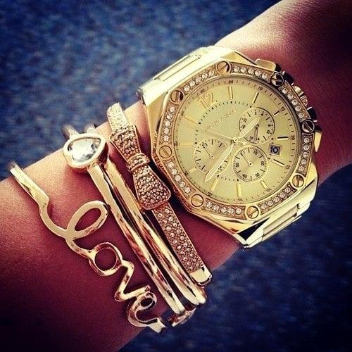 stylish watch women golden bracelets