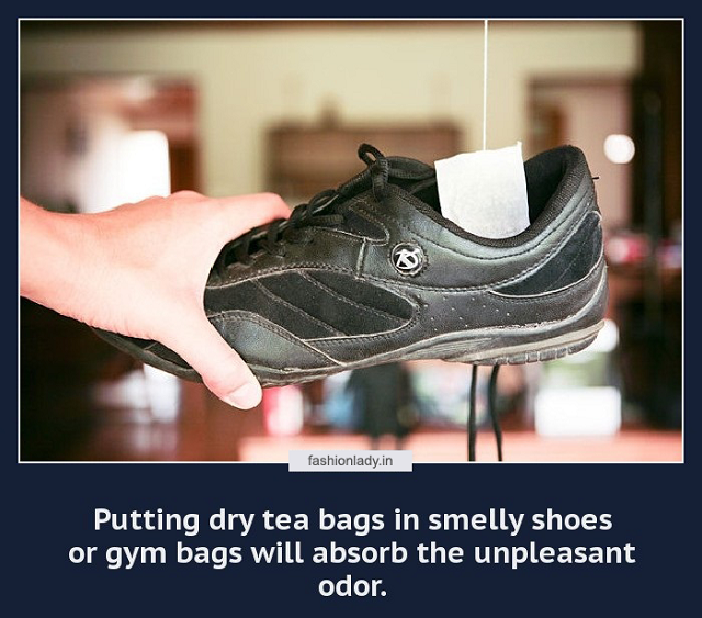 tea bags to remove shoe