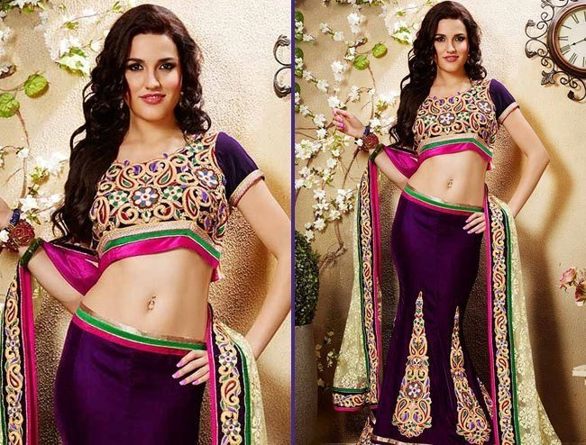 tready purple net designer lehenga