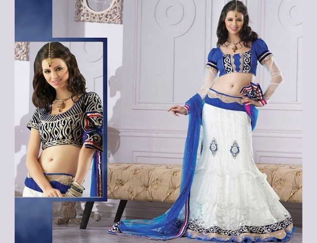 white and blue lehenga