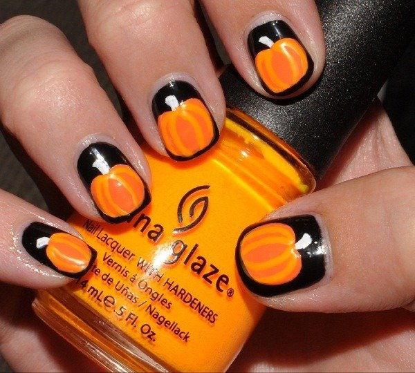 Thanksgiving Pumpkin Nail Art Designs
