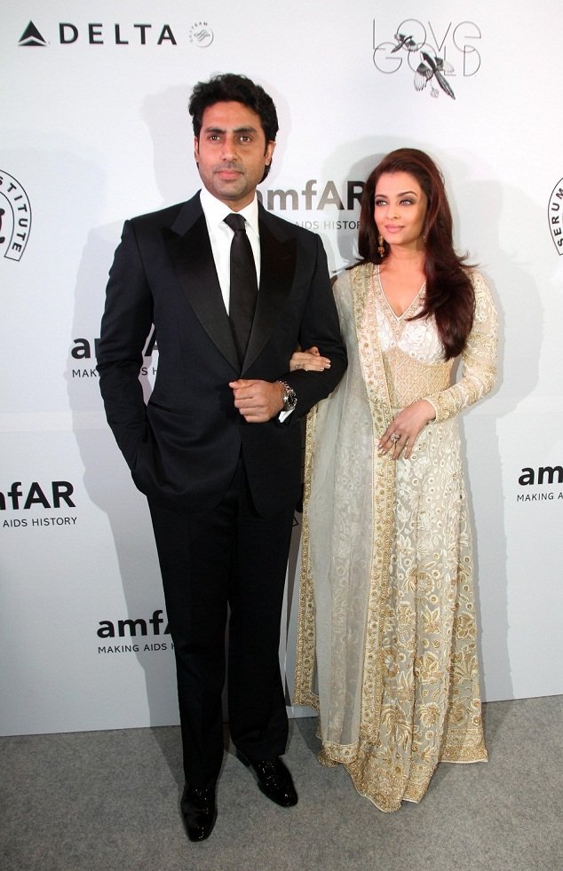 Aishwray Rai Bachchan with Abhishek at amfAR event Mumbai