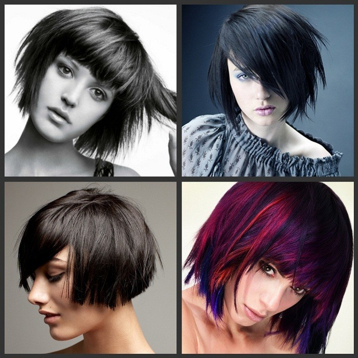 Edgy Bob haircut for round face