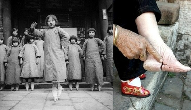Foot binding lotus shoe