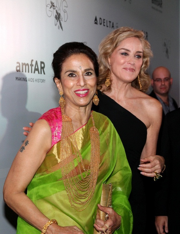 Sobha De with Sharon Stone at amfAR event