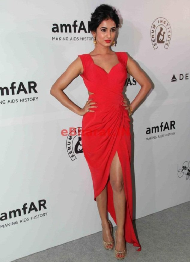 Sonal Chauhan wearing AZVA jewelry at amfAR event