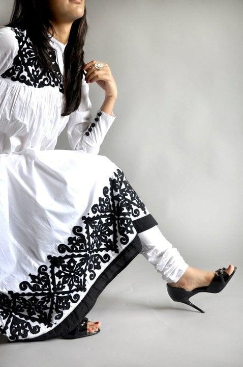 black white salwar kameez