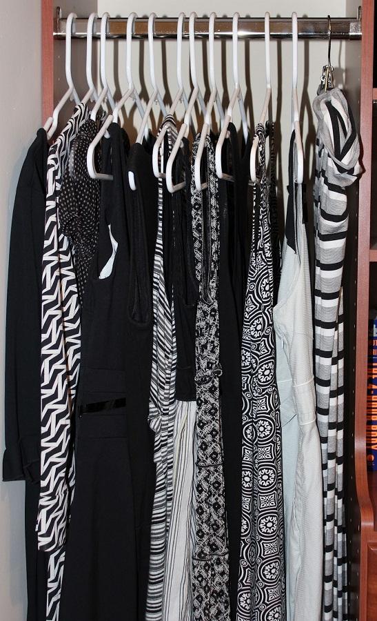 closet full of black and white