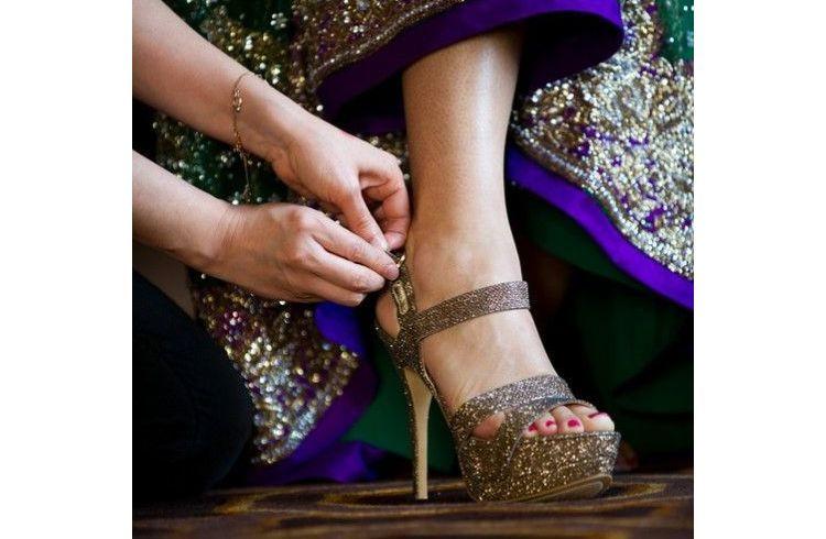 Gold color bridal footwear