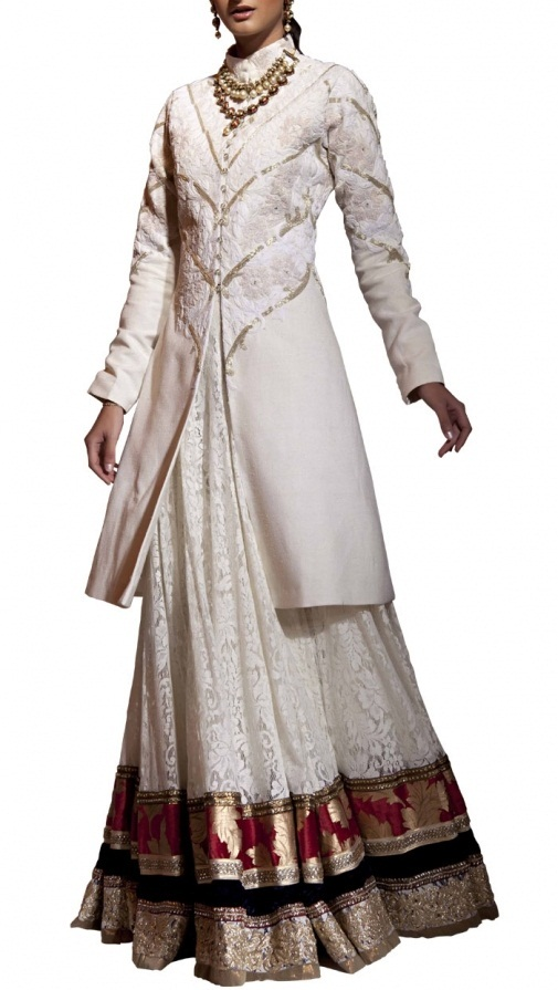 siddartha tytler Ivory Jacket and 30 Panel Lace Skirt