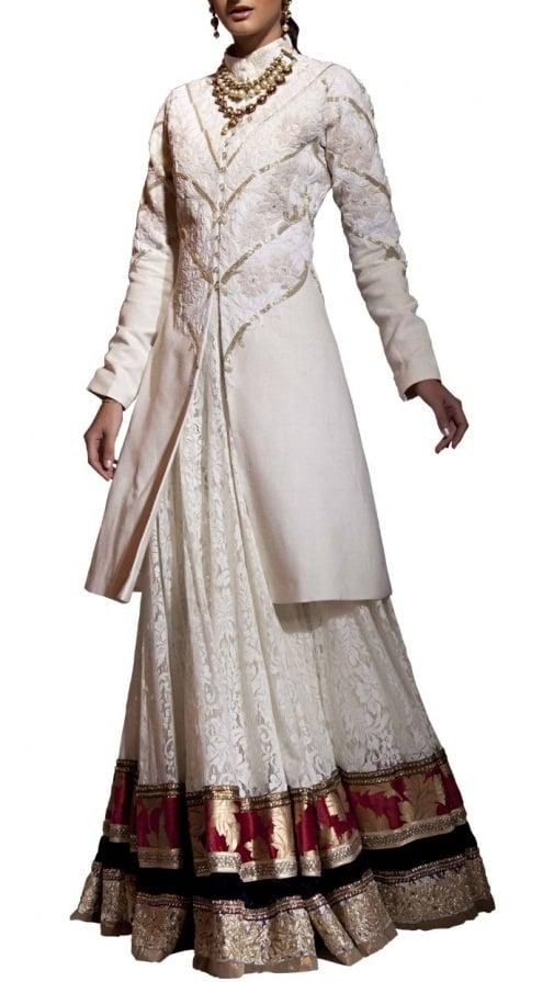 siddartha tytler Ivory Jacket and 30 Panel Lace Skirt