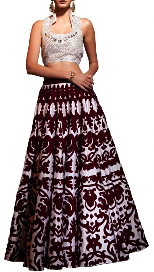siddartha tytler Velvet Applique 30 Panel Skirt