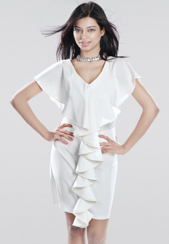 Ozel Butterfly Sleeve Embellished Off White Dress