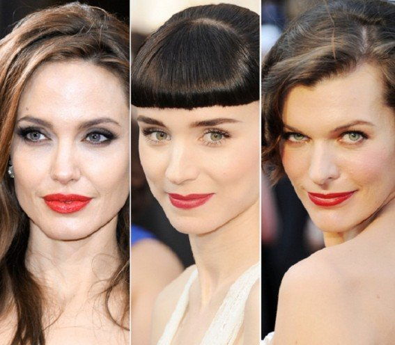 red lips at oscar red carpet
