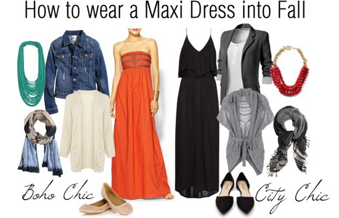 how to wear maxi-dress into fall