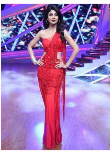 shilpa shetty fab red dress