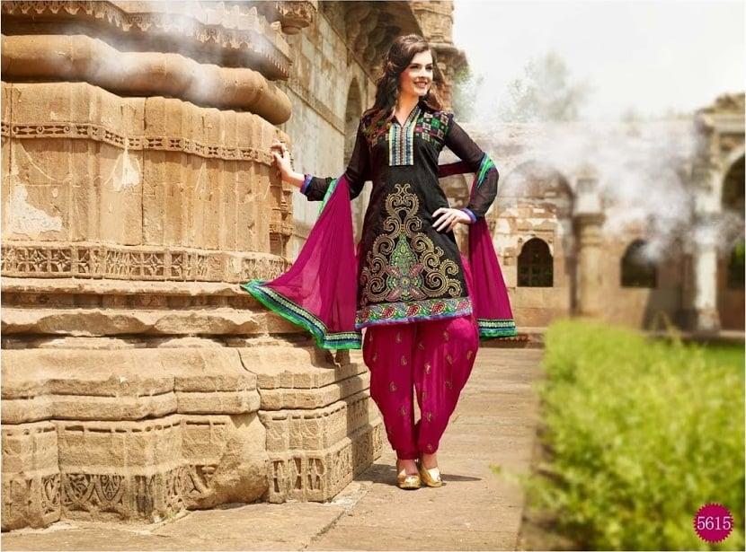 lohri collection black pink patiala suit