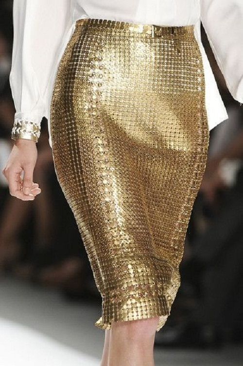 gold sequinned skirt