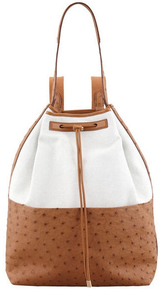 The-Row-Bicolor-Canvas-and-Ostrich-Backpack