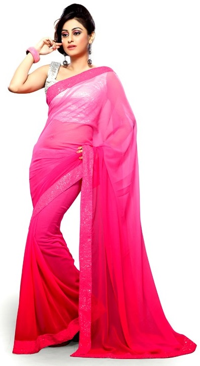 De Marca Pink Faux Georgette Border Work Appealing Saree