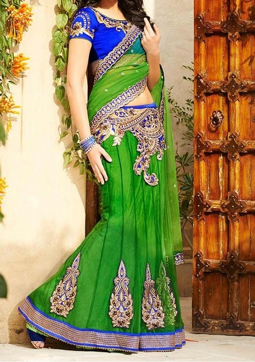 blue green lehenga saree