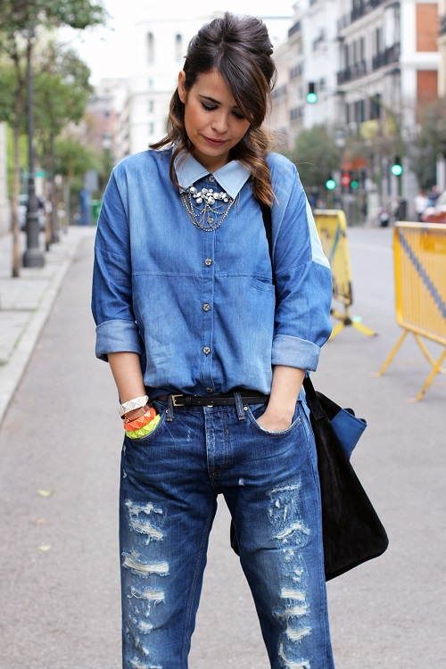 Double Denim Street Style Fashion Outfit
