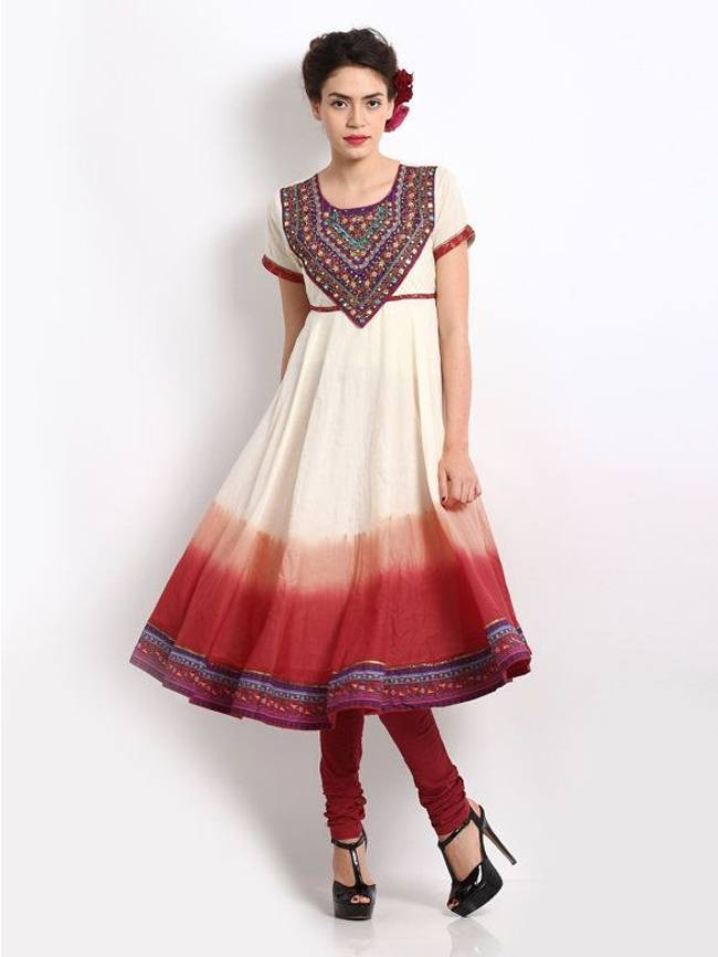 Anarkali Suits with red ombre effect