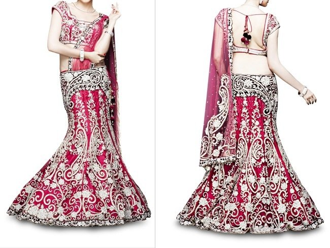 Bridal Red Lehenga Saree