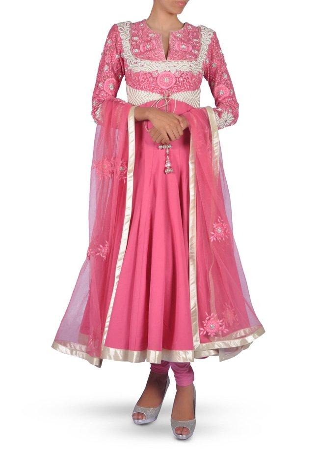 2 Carnation Pink Embroidered Anarkali Suit