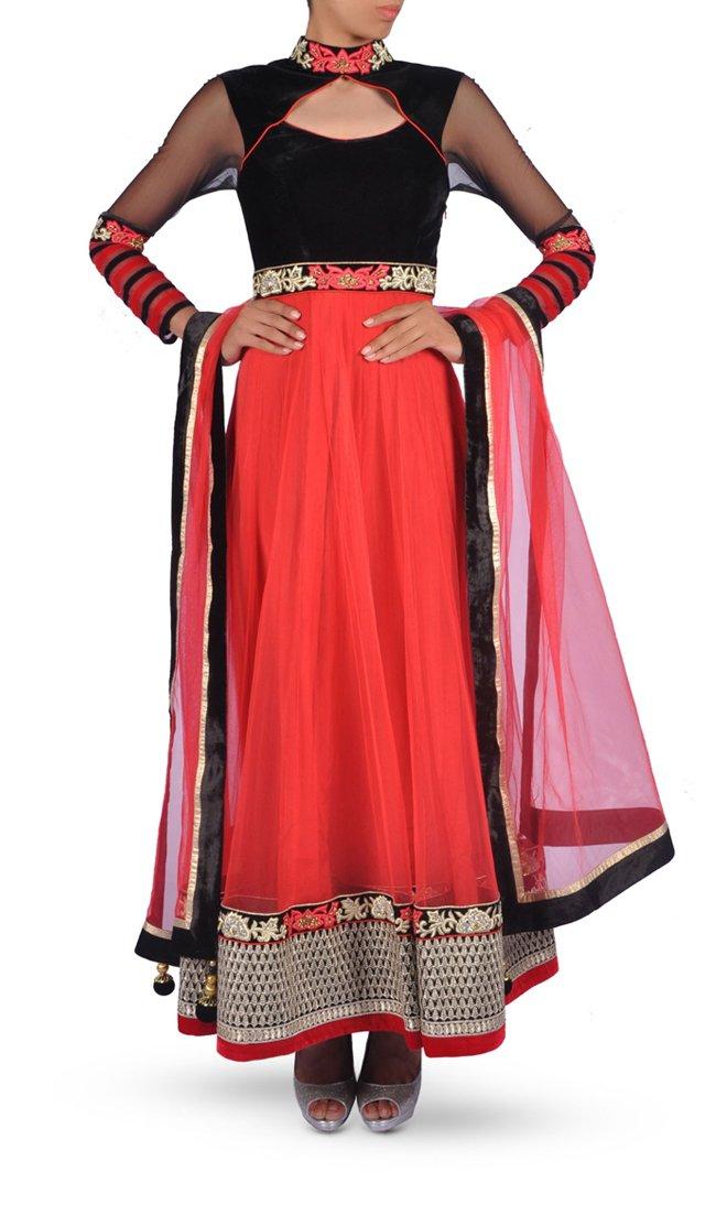 Coral Red & Black Anarkali Suit