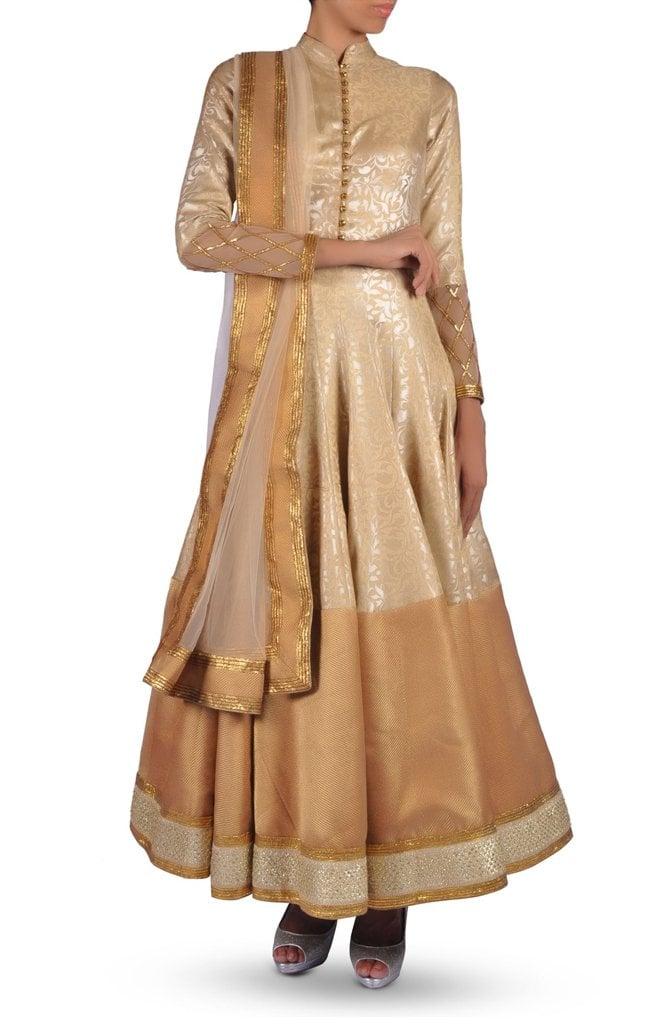 Golden Brocade Anarkali Suit