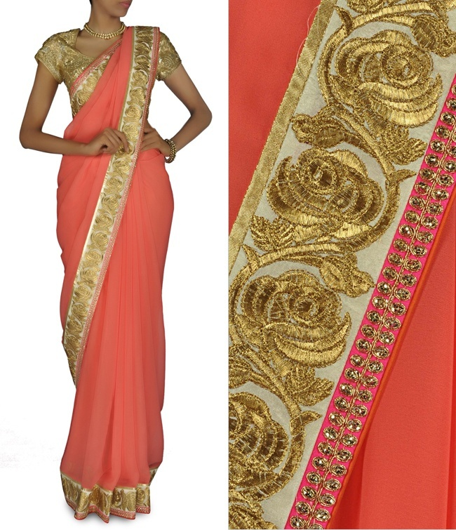 Gulmohar Orange Wedding Sari