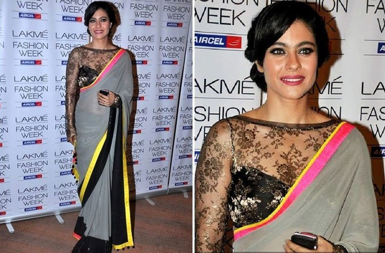 Kajol in sheer saree blouse design manish malhotra