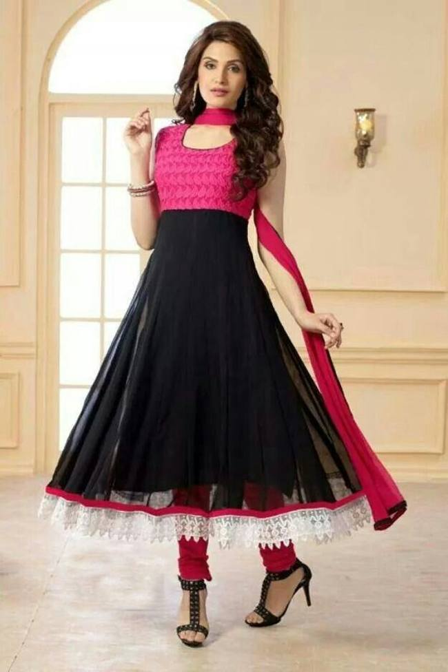 Lacy Black Anarkali suit for casual wear