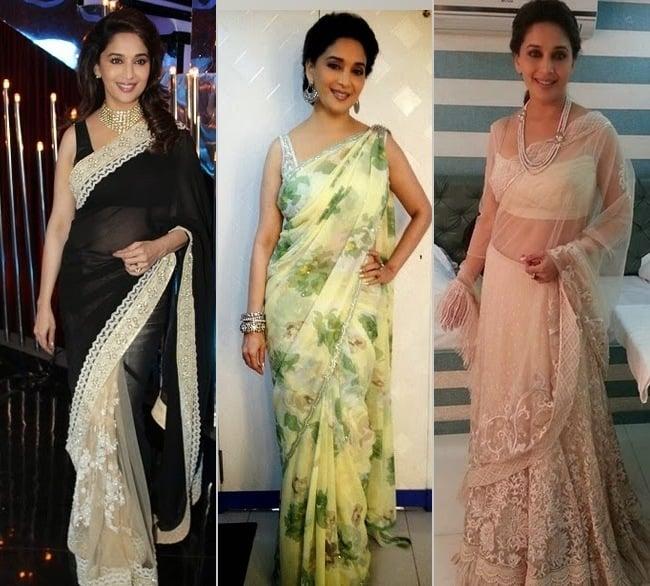 Madhuri Dixit Most Stylish Sari Moments