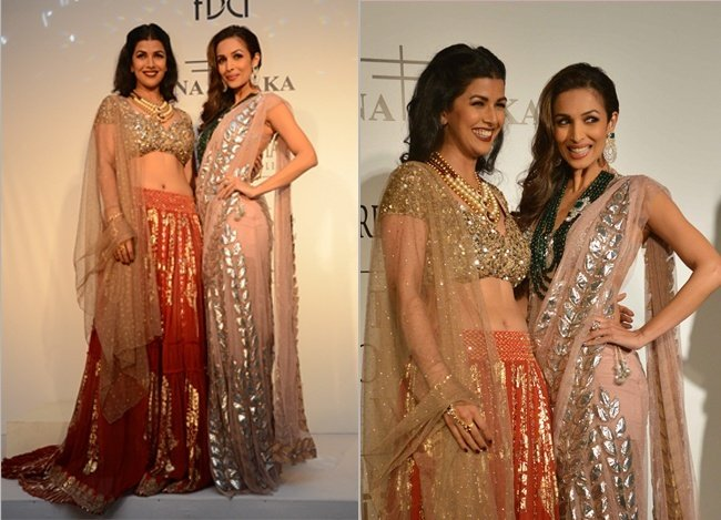 Malaika Arora Khan and Nimrat Kaur at India Couture Week 2014