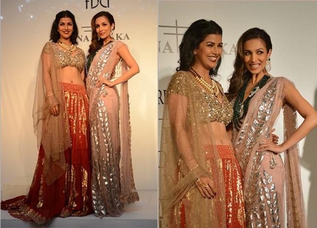 Malaika Arora Khan and Nimrat Kaur at India Couture Week 2014