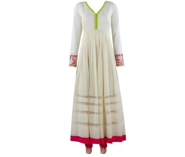Manish Malhotra Anarkali Neon cotton suit
