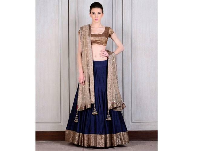 Manish Malhotra Bridal navy blu lehenga